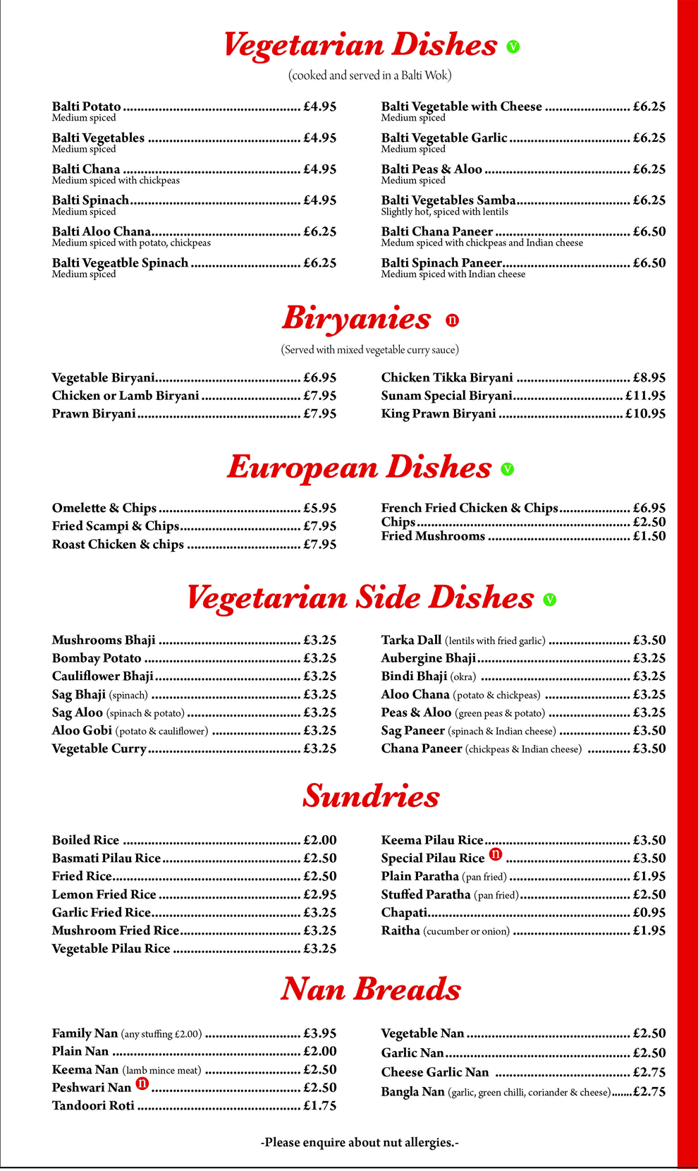 Vegetarian and European Dishes